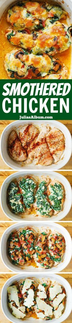 Smothered Baked Chicken with Creamed Spinach, Bacon, Mushrooms – with MELTED  Pepper Jack cheese (Monterey Jack Cheese with Jalapenos). SO UNBELIEVABLY GOOD! (made in a casserole dish)