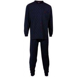 Volledig zwarte heren pyjama - top met ingebreid ruiten dessin -