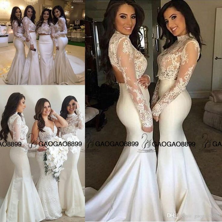 New White Lace High Neck Two Pieces Long Sleeve Mermaid Bridesmaid Dresses 2016 Muslim Arabic Maid Of Honor Wedding Party Guest Dress Bridesmaid Dresses Limerick Bridesmaids Dresses Sale From Gaogao8899, $91.36| Dhgate.Com