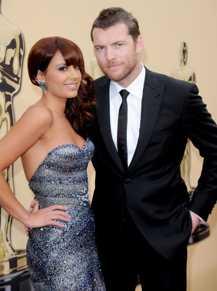 Natalie Marks in J'Aton Couture with Sam Worthington at Academy Awards 2010