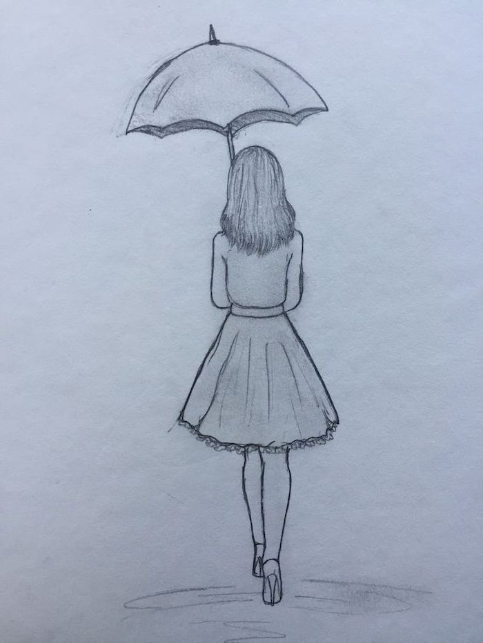 How To Draw Step By Step Girl Walking With An Umbrella Wearing Skirt And Heels Black And Whi In 2020 Art Drawings Sketches Simple Cool Art Drawings Art Drawings Simple