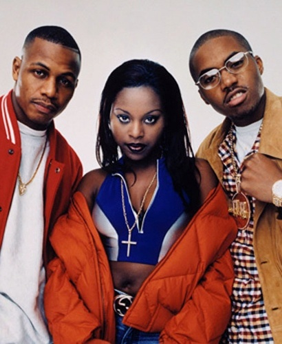 The Firm, hip-hop supergroup composed of rappers Nas, Foxy Brown, AZ & Nature (not pictured), who replaced Cormega after he was ousted from the group. Although they received initial hype & high expectations upon their formation after signing to Dr. Dre's label, their debut album, The Album, generated generally negative criticism due to its mainstream, pop-orientation. Their hits include Firm Biz, Phone Tap, & Five Minutes to Flush. Members soon went their separate ways.