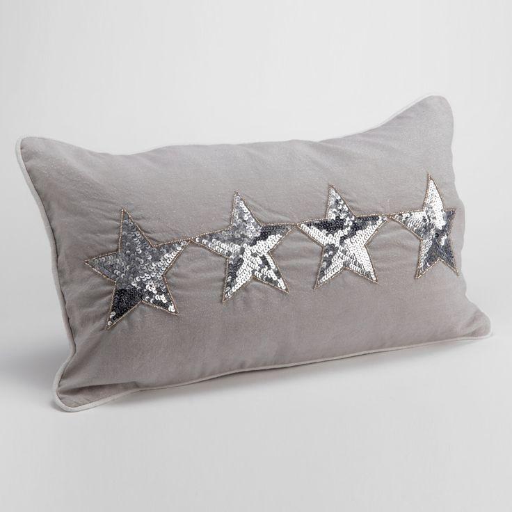 Coussin déhoussable 100% coton étoile en strass gris  LEGENDES DES MERS (Amadeus)