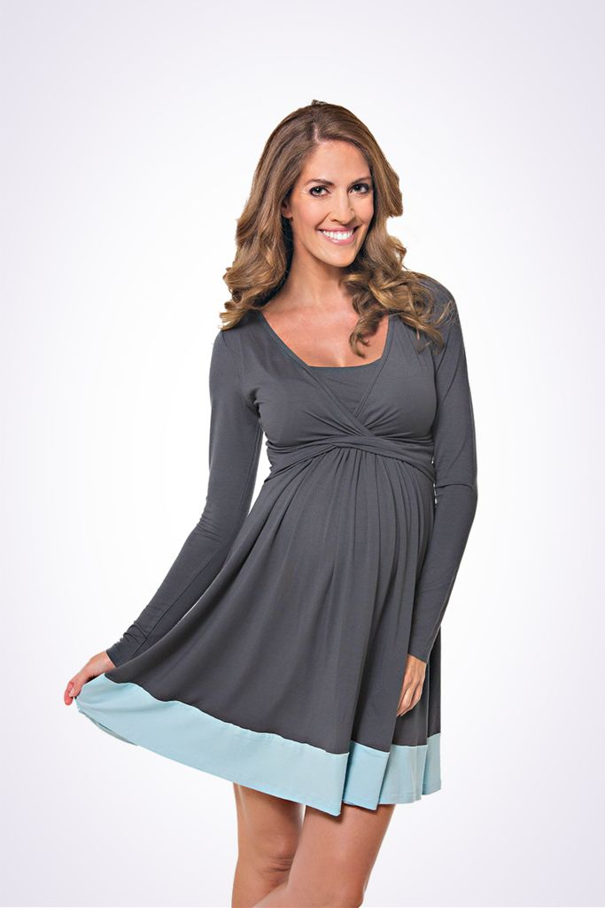 The Lonzi&Bean UltiMum maternity and breastfeeding dress in Charcoal-Duckegg