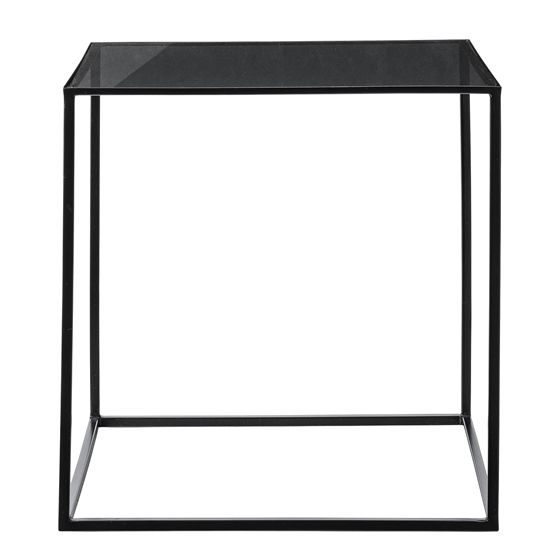 Cube Table, Black Frame w/Smoked Glass Top