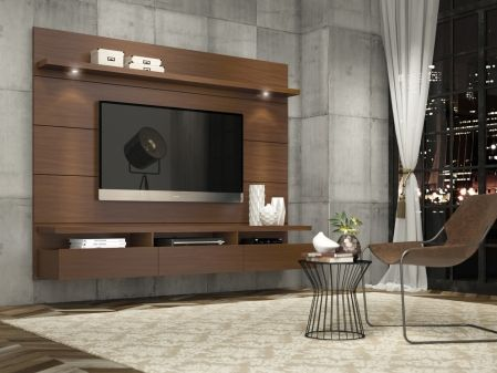 Manhattan Comfort Cabrini Theater Entertainment Center Panel 1.8 in Nut Brown 23751 at appliancesconnection.com. Choose between stark white or smooth black, both with a high-gloss finish, or try a more dashing affect with the natural wood tones in a pro-touch finish and the Horizon Home Theater is sure to complete your already chic look. #eyecatcher #perfection #livingroomgoals