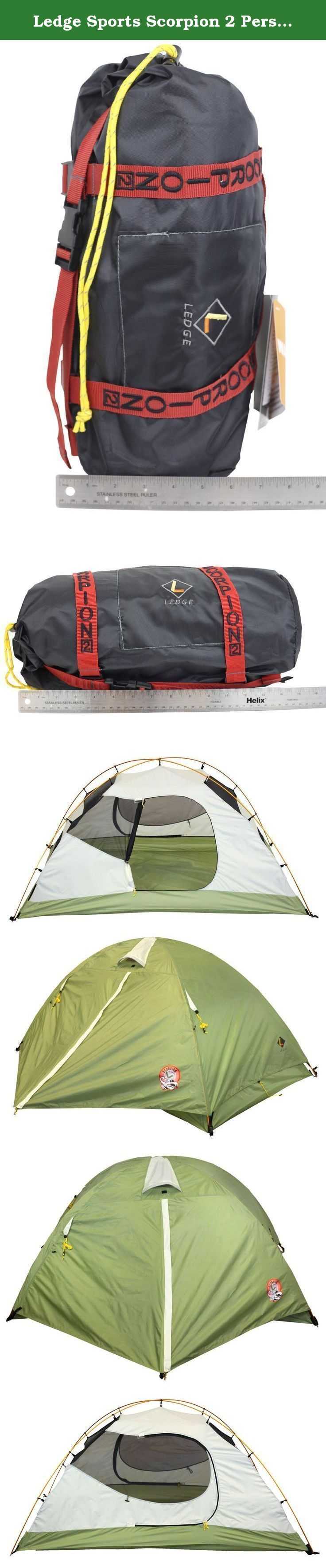 Ledge Sports Scorpion 2 Person Light Weight Aluminum Pole Backpacking Tent, Green, 95 x 58-Inch. The Scorpion lightweight 2 person tent with dimensions of (92-Inch x 58-Inch x 42-Inch Height), and is made with 1500mm Waterproofing construction on rainfly and rub floor. Other useful features are the 100% heat seam tape to stop water leakage, and a full coverage rainfly with 2 Vestibules. The sturdy 2 pole system of high quality aluminum provides easy assembly and aluminum stakes to secure...
