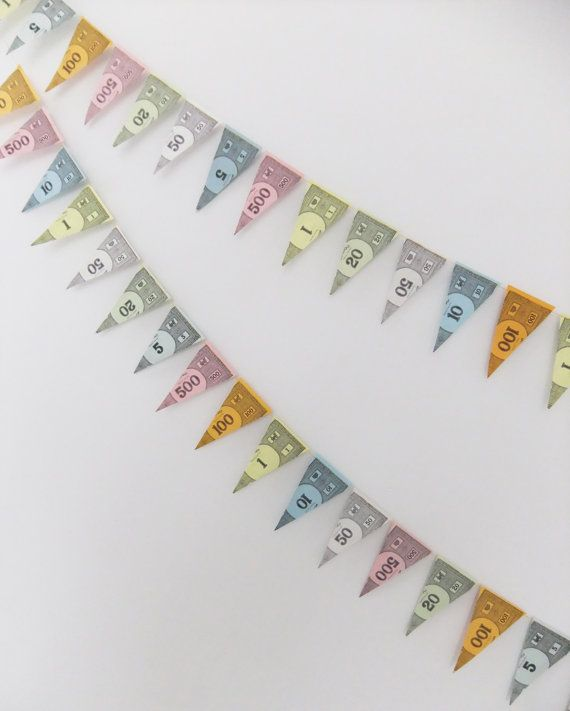Mini Paper Bunting Monopoly Money Bunting by HandmadebyPandT
