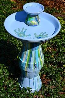 DIY Painted Terra Cotta Pot Bird Bath in Blues & Greens with handprint art