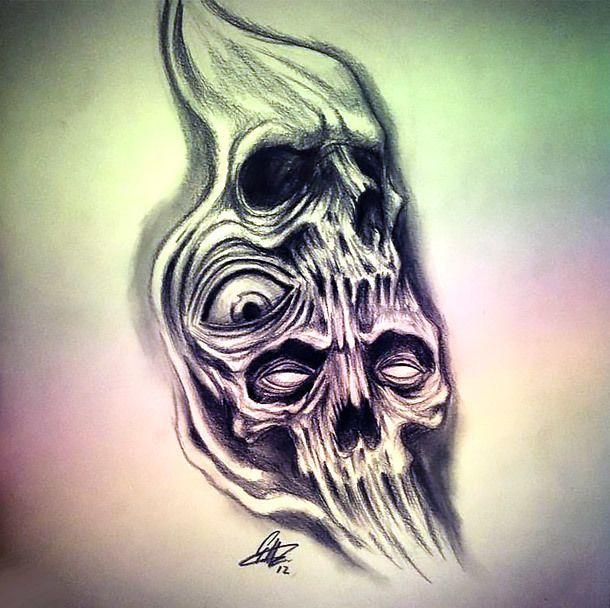 Horror Tattoo Drawing With Images Scary Tattoos Skull Tattoo Design Evil Skull Tattoo