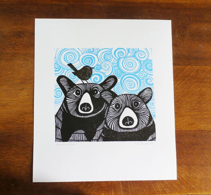 Bears & Wren, by Kat Lendacka, Original Linocut Print, Signed Open Edition, Free Postage in…