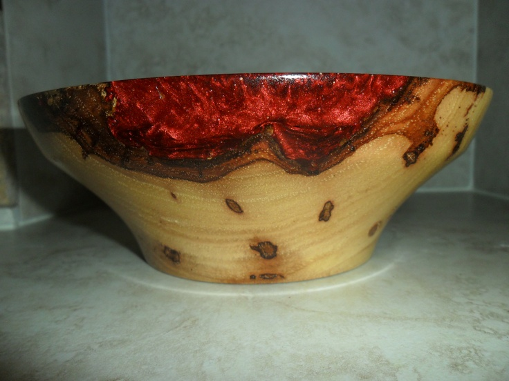 Pecan Wood Turned Bowl Natural Cracks Inlaid With Copper