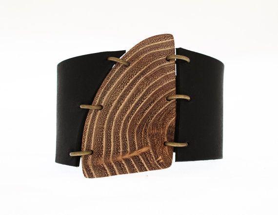 Wood cuff bracelet -leather cuff bracelet -  earthy cuff - OOAK cuff