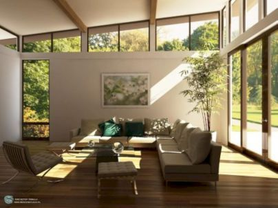 Like high Windows. Maybe do similar in living room with high ceilings?