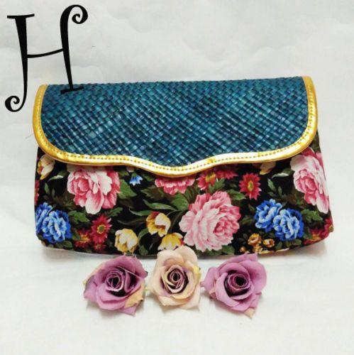 Flower-Shabby-Chic-Woven-Clutch-Multidesign-Women-Handbag-Purse