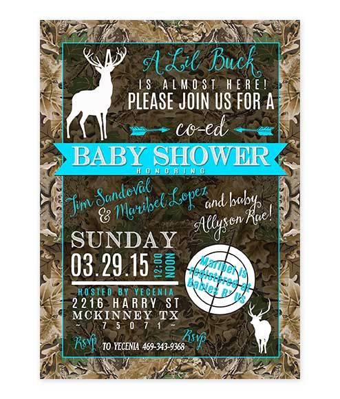 View our awesome collection of baby shower invites for that deer themed shower! Lil Buck Blue Camouflage Baby Shower Invite