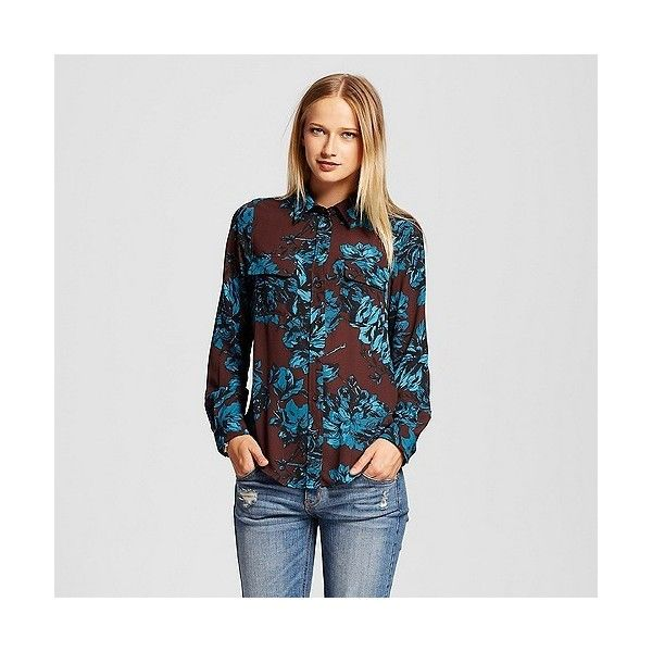 Women's Button Up Blouse Teal Floral ($25) ❤ liked on Polyvore featuring tops, blouses, teal floral, long sleeve polyester shirt, animal print shirt, floral print shirt, oxford shirt and long sleeve button down shirts