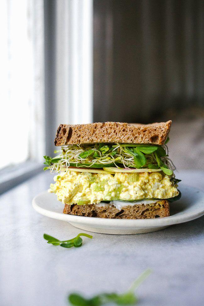 Vegan Tofu Salad Sandwich with Curry and Spring Veg