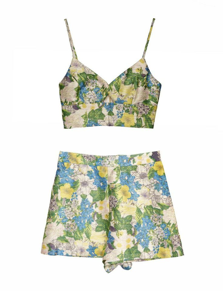 Pixie Market Floral Brocade Matching Set - Tropical Print Short And Top - $65