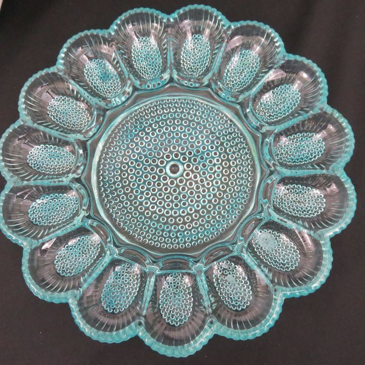 Shimmery Aqua Glass Hand Painted Egg Plate / Hobnail Indiana Glass Egg Platter / Upcycled Deviled Egg Plate for Easter or Everyday by CheekyBirdy on Etsy