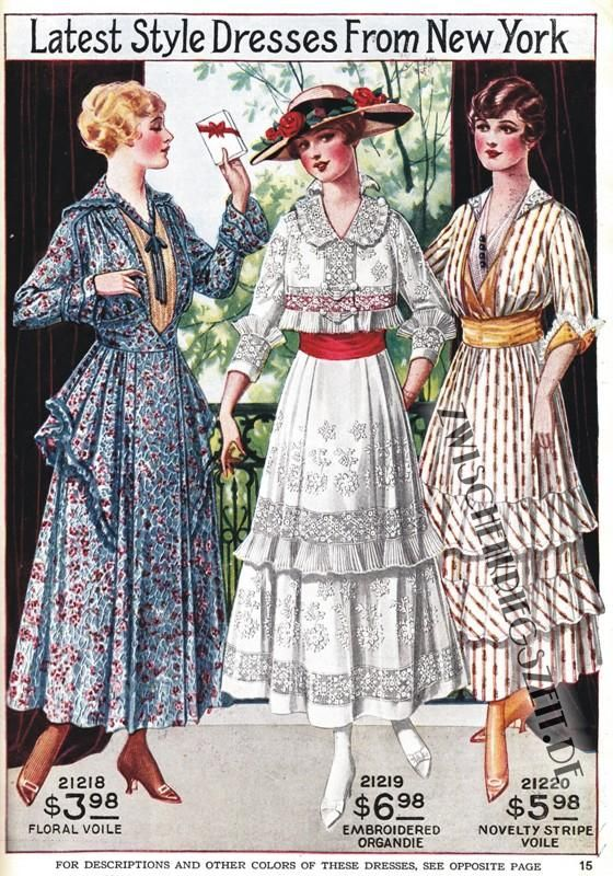 1916 New York fashion styles.
