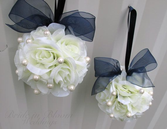 Wedding flower balls white navy blue flower girl pomander Wedding ceremony decorations