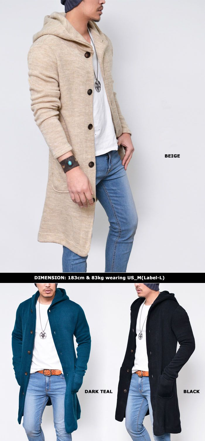 Outerwear :: Cardigans :: Hooded Long Knit Jacket-Hoodie 169 - Mens Fashion Clothing For An Attractive Guy Look