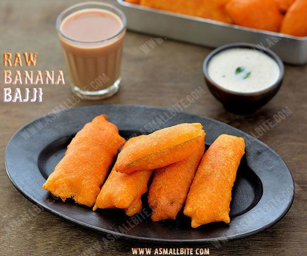 Raw Banana Bajji Recipe / Vazhakkai Bajji Recipe is a typical South Indian snack prepared with besan flour, topped with spice powders and deep fried in oil.