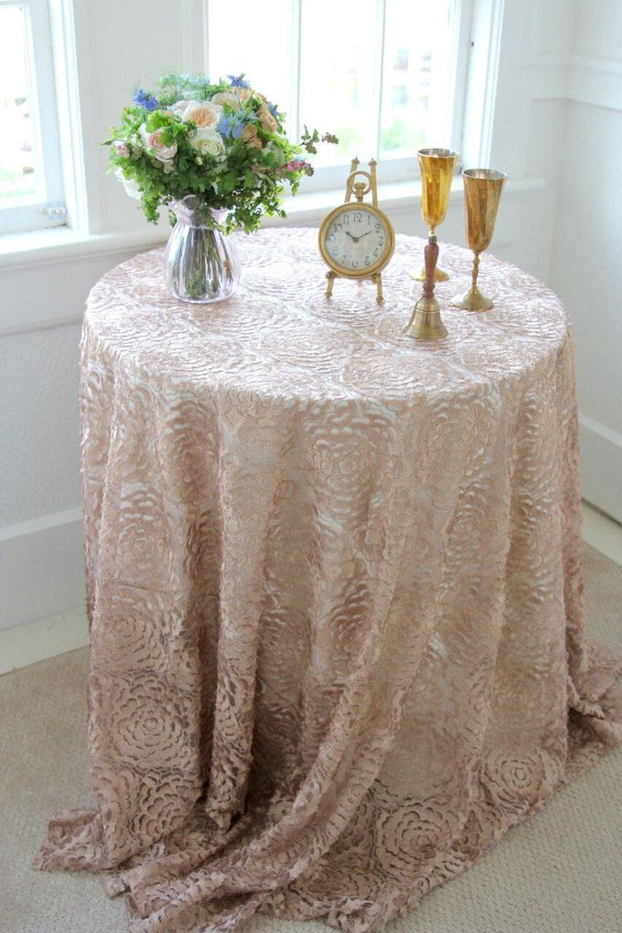 Champagne Lace Tablecloth Lace Tablecloth Overlay Vintage Wedding Champagne Rosette Cha Wedding Table Linens Wedding Tablecloths Lace Tablecloth Wedding