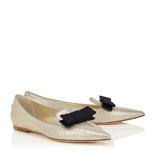 Jimmy Choo Gala Nude Textured Metallic Patent Pointy Toe Flats with  Grosgrain Bow #wedding #