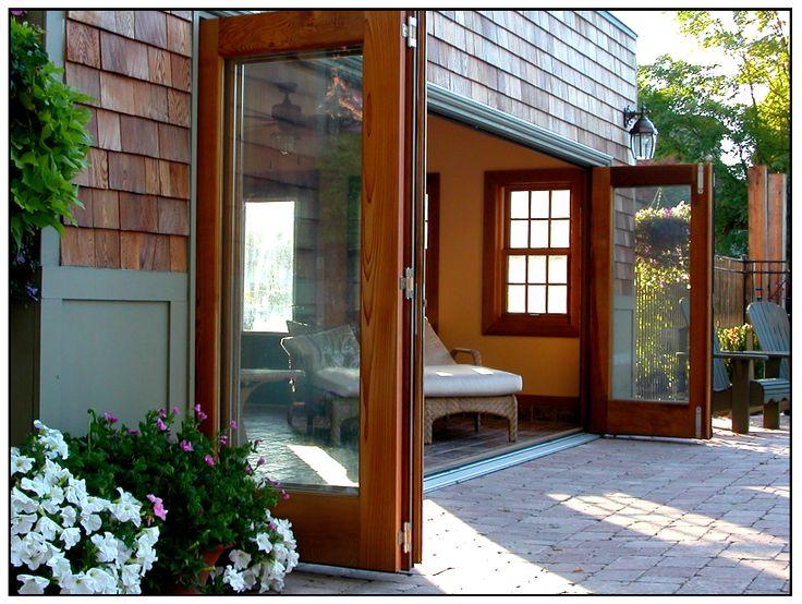 Check out this gorgeous cedar Amberwood Panoramic TM Bi-Folding door system on this cabana & 22 best Amberwood Panoramic TM Bi-Folding Doors images on Pinterest ...