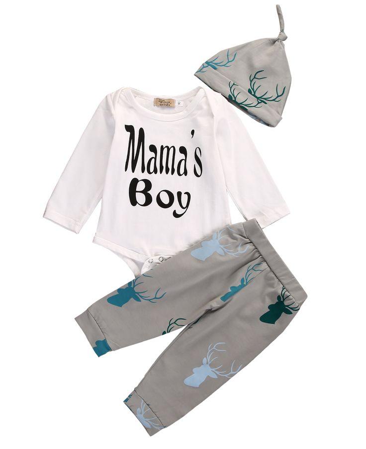 New Arriving Baby 3pcs Set!!Cotton Newborn Baby Boys Girls White Long Sleeve Letter Bodysuit +Long Print Pants +Hat //Price: $US $6.66 & FREE Shipping //     #fashion