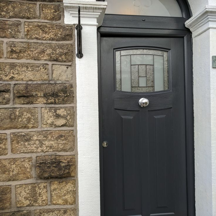A fantastic close up shot of an Anthracite Grey Newark! The door is finished off with Citadel glass, central knob and colour matching frame.  #Rockdoor #HomeImprovements