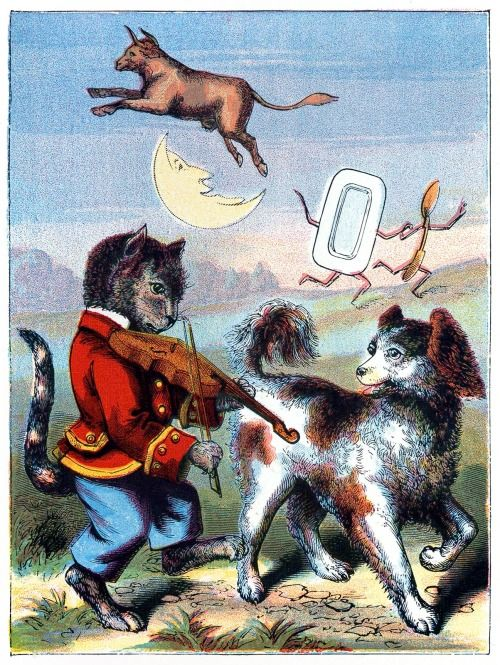 'Hey diddle diddle, the cat and the fiddle.' From Nursery rhymes, by Edward P Cogger, 1880s