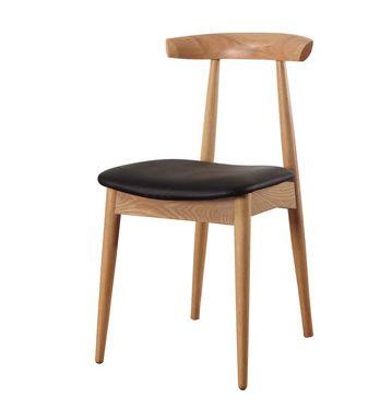 Silla fabricada en madera curvada y enchapada en fresno. Base de madera maciza. Asiento tapizado ...