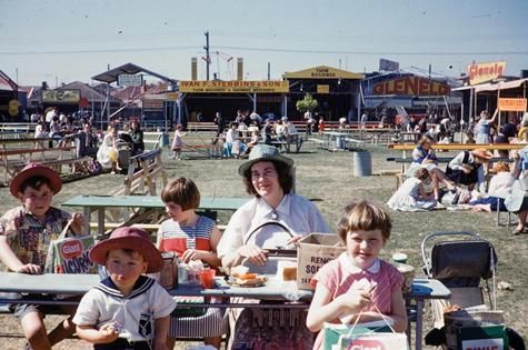 Digital Photograph - Family Having Lunch at Royal Melbourne Show, Ascot Vale, 1961