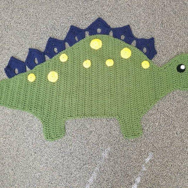Crochet Pattern Spiky The Stegosaurus Dinosaur Rug Nursery Mat Etsy Crochet Patterns Red Heart Super Saver Yarn Dinosaur Rug