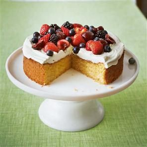 Genoise sponge recipe. This cake is challenging but scattered with a creamy syllabub and fruit, it makes a beautiful summer dessert.