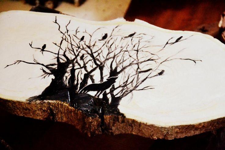 taca z orzecha ręcznie malowana, pod gorące EKO