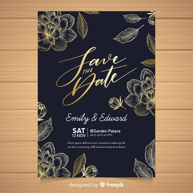 Elegant Wedding Invitation Card Template Free Vector Free