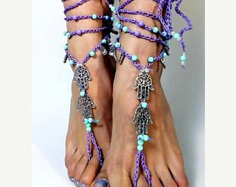 PEACE sign BAREFOOT sandals Black and Gold Gypsy Sandals New