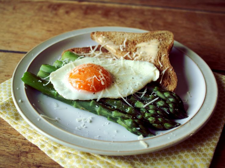 Asparagus and fried egg on Gluten free bread recipe. Gluten free breakfast.