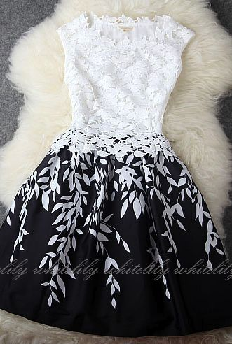 ♡♡Fashion Flare♡♡: Black And White Lace Dress