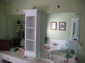 revamp that large bathroom mirror, bathroom ideas, home decor, Added shelving unit and attached to wall just above mirror to help anchor the weight