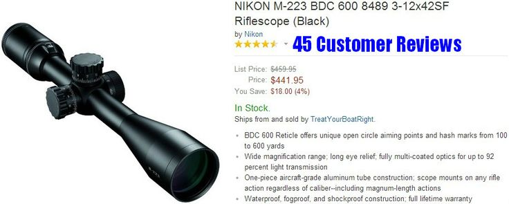 AR 15 Scopes - NIKON M-223 BDC 600 8489 3-12x42SF Riflescope (Black)
