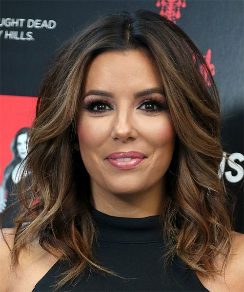 Eva Longoria Medium Wavy Bob Hairstyle - Dark Brunette