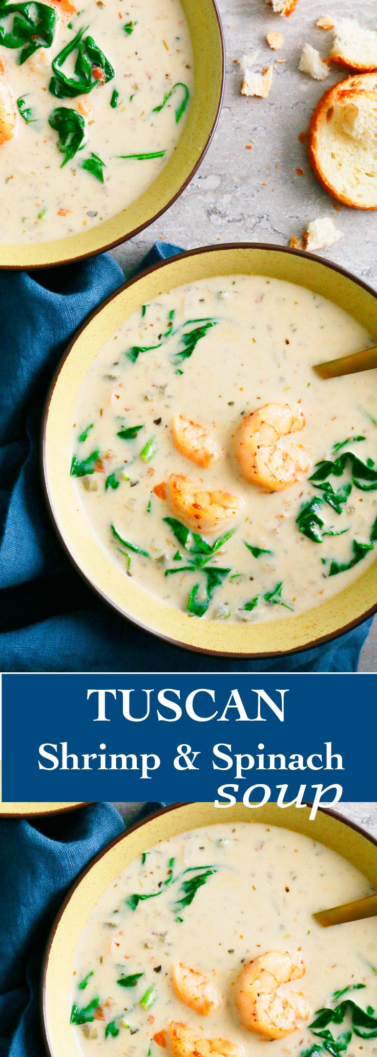 tuscan soup| quick shrimp soup |fall soup | spinach soup | easy shrimp soup | italian shrimp soup | creamy shrimp soup