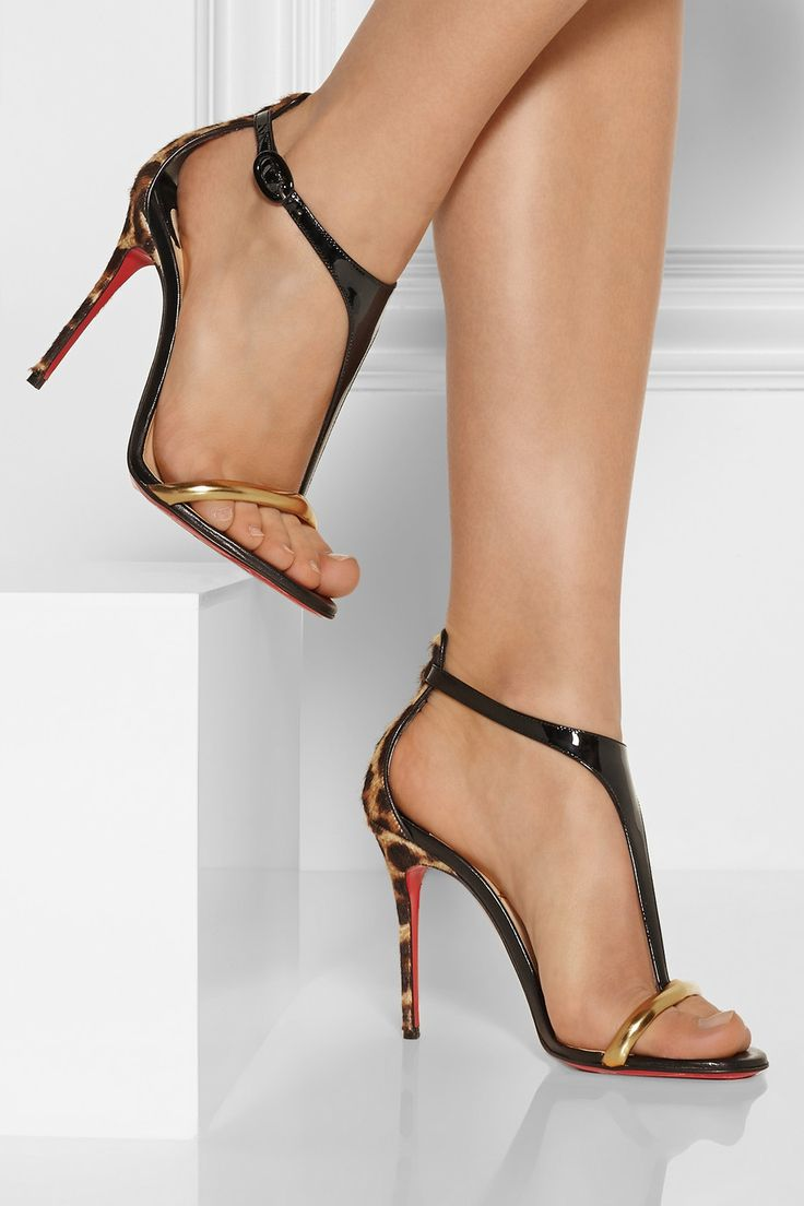 christian louboutin athena alta 100 leopard print and patent leather sandals net a porter. Black Bedroom Furniture Sets. Home Design Ideas