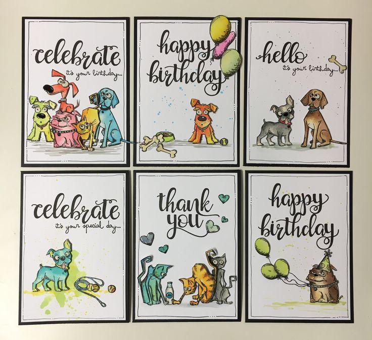 Crazy Dog Card set - Kasia Leach Tim holtz crazy dogs, distress ink