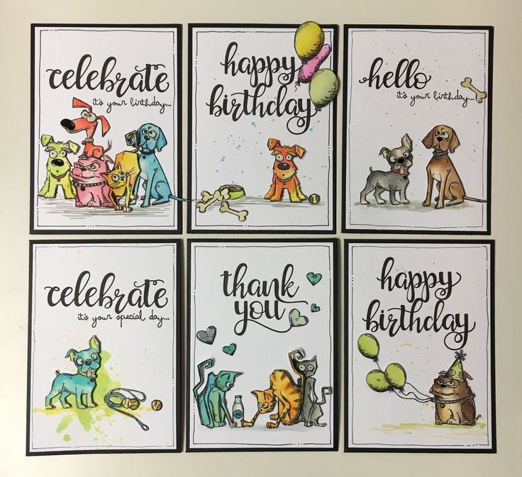Crazy Dog Card set - Kasia Leach Tim holtz crazy dogs, distress ink
